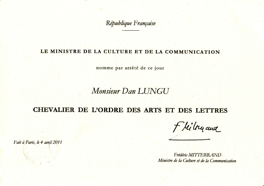 Dan Lungu, decorat de statul francez cu Ordinul Artelor şi Literelor
