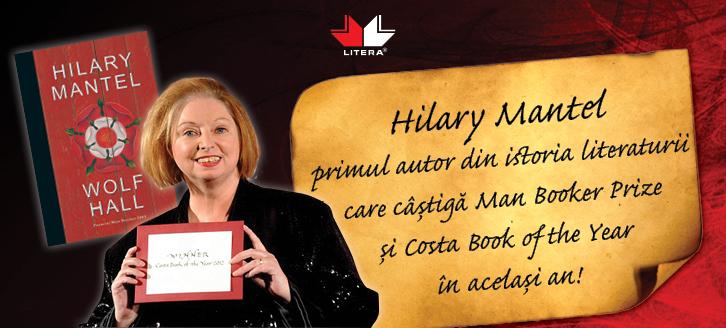 Hilary Mantel: primul autor din istoria literaturii care a câştigat în acelaşi an Man Booker Prize şi Costa Book Award!
