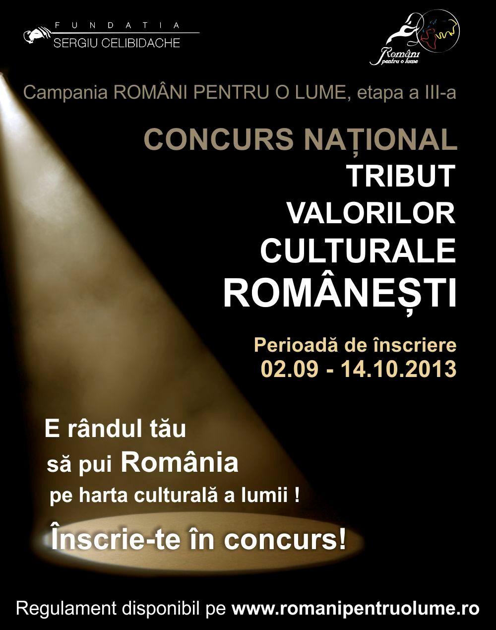 """Componenţa juriului pentru concursul """"Tribut Valorilor Culturale Româneşti"""""""