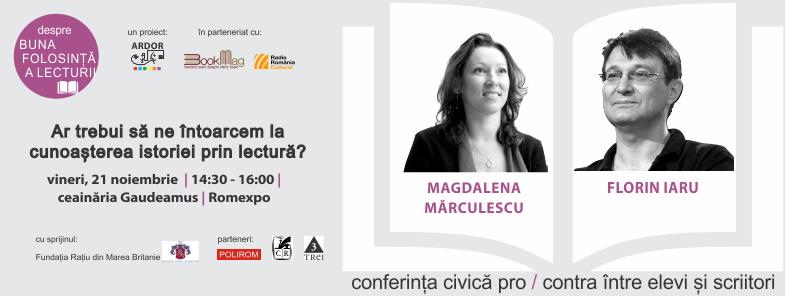 Dezbatere inedită la Gaudeamus – Editorul Magdalena Mărculescu vs. scriitorul Florin Iaru alături de doi elevi