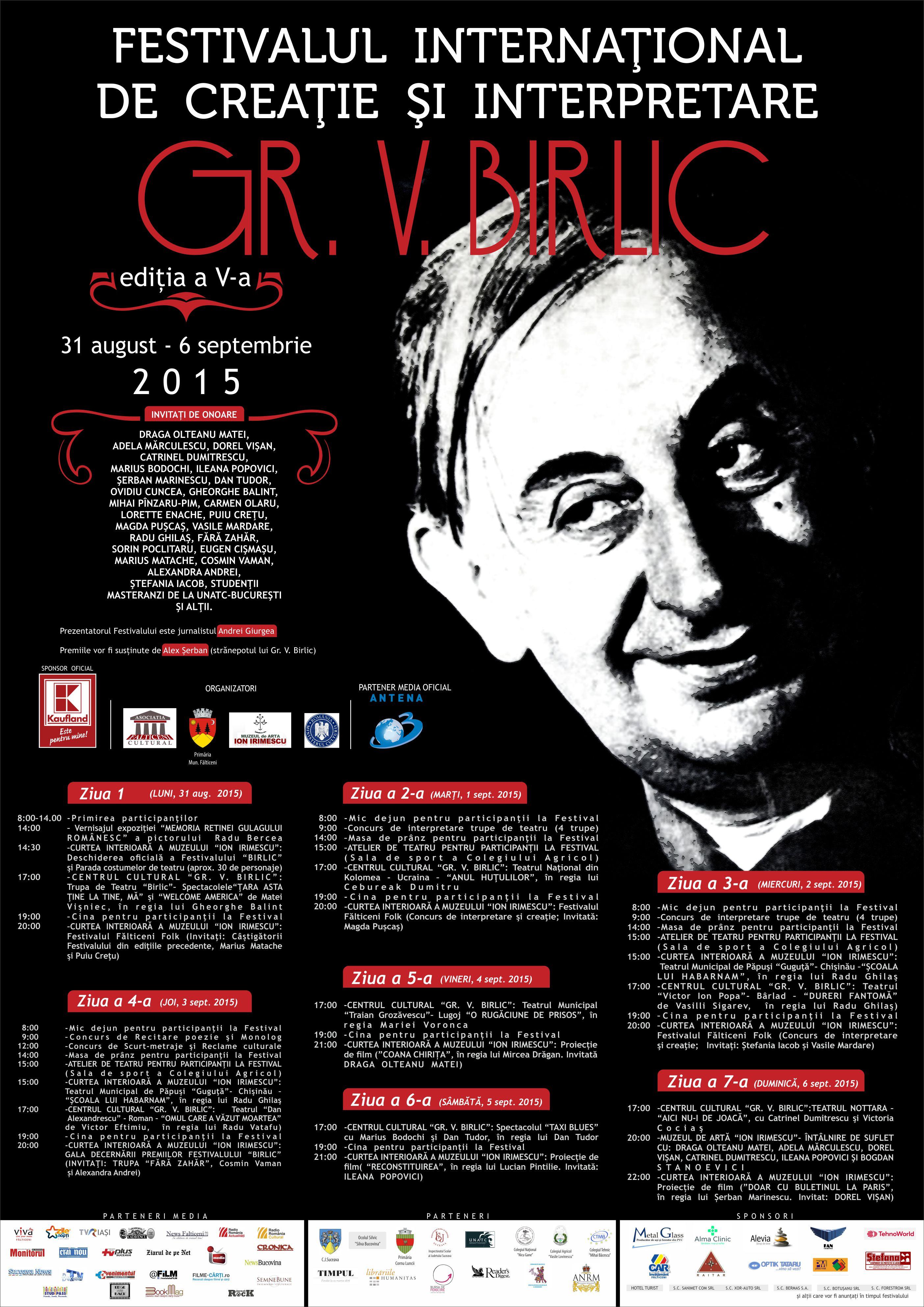 """La Fălticeni a început Festivalul de Creație și Interpretare """"Gr.V.Birlic"""""""