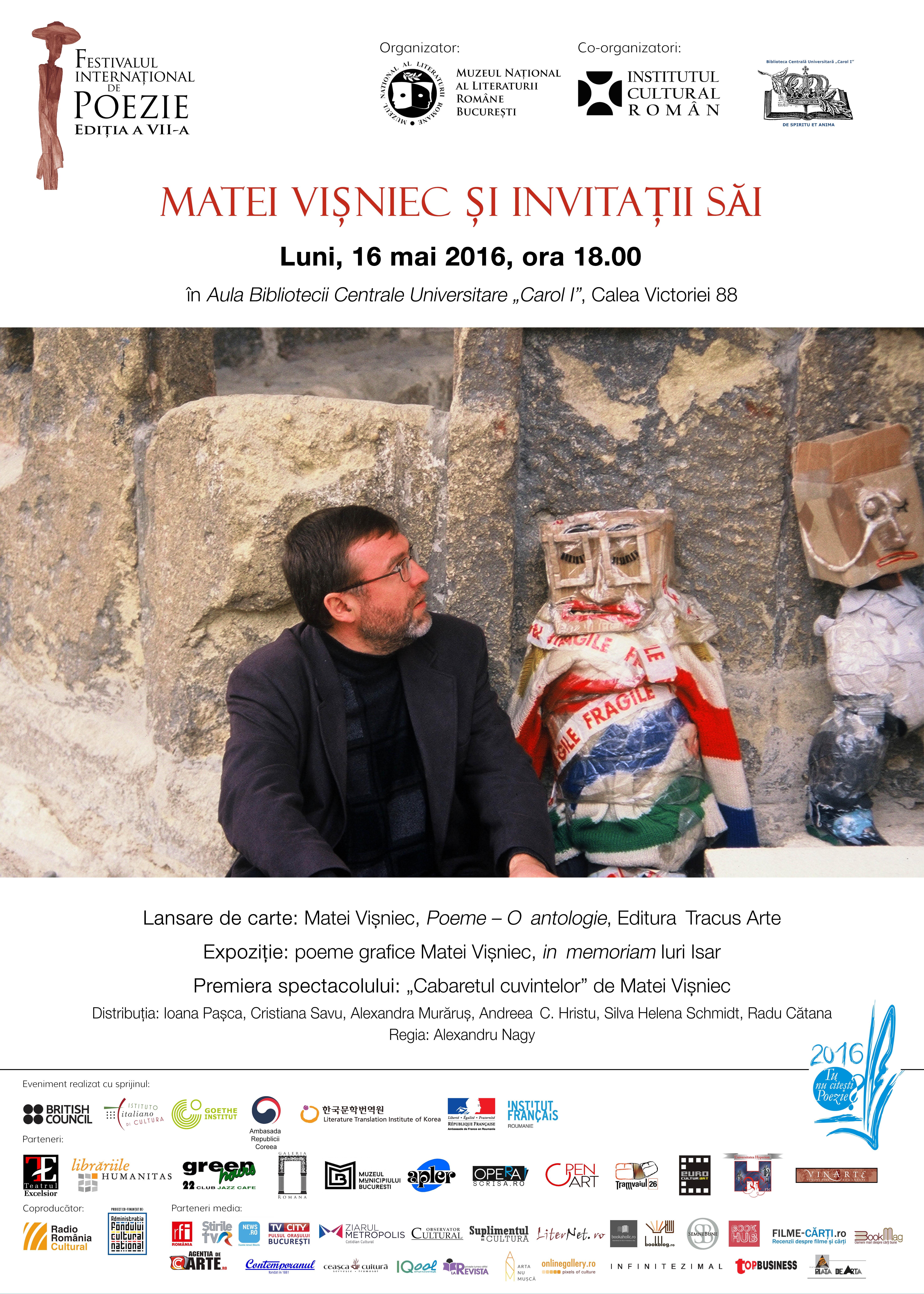 Matei Vişniec,  în deschiderea Festivalului Internaţional de Poezie Bucureşti, ediţia a VII-a